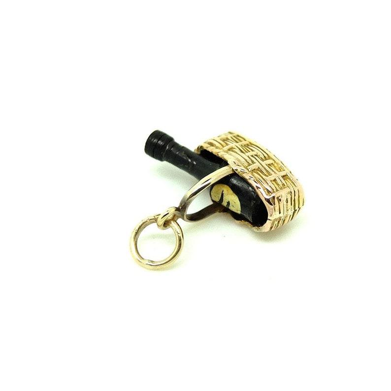 Delicate Charm Necklace Vintage Picnic Vintage Champagne Charm Necklace 1972 Gold Charm Charm Necklace Vintage Champagne Bottle