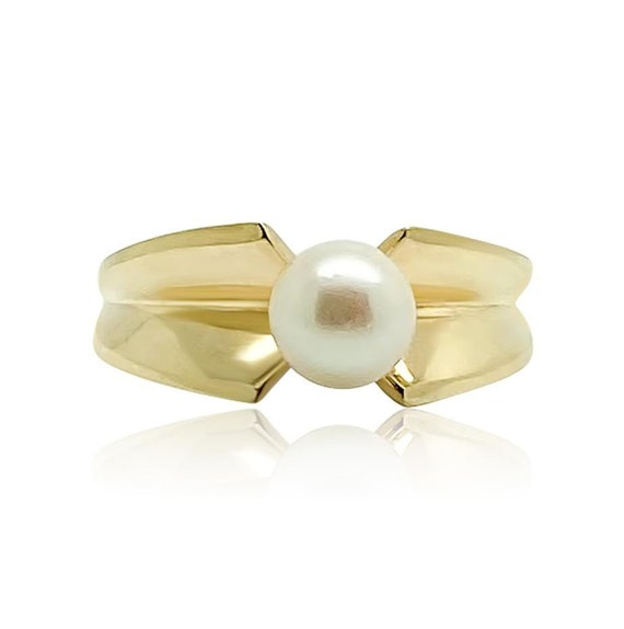 Vintage 1970s Pearl 9ct Gold Ring