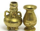 Rustic Miniature Brass Vase and Double Handled Three Footed Water Jug Set
