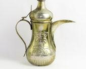 Mid Century Gold Plated Sterling Silver Saudi Arabia Coffee Pot Tea Pot Dallah