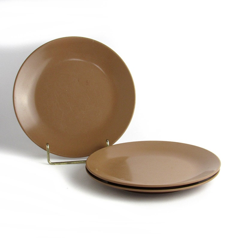 Set of 3 Brown Melamine Round Salad/Dessert Plates