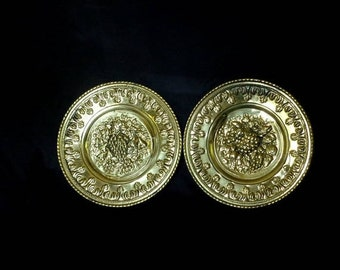 Etsy Birthday Sale Free US Shipping, English Brass Wall Plates with Embossed Fruit, Set of 2, Made in England
