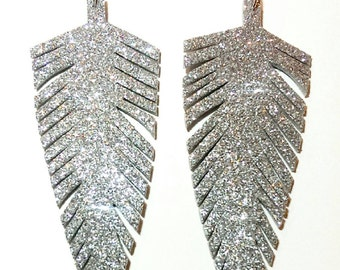 Silver Glitter Feather Earrings