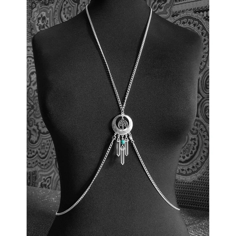 Turquoise Gemstone Bead /& Rock Crystal Wand Necklace Belly Chain  Body Chain  Size Small  UK Size 810