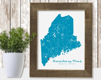 Mom from Son Mother Gifts for Mom from Daughter, Personalized Mother's Day Gift from Son Mom Birthday Gift, Mother Daughter Map State Print