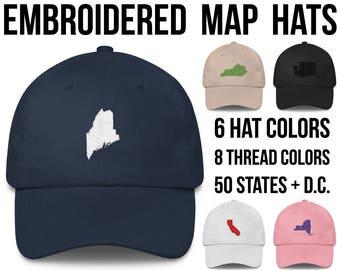 Maine Hat Maine Cap Maine Baseball Hat Maine Baseball Cap Maine Gifts Maine Native Maine Outline Monogram Hat Embroidered Hat