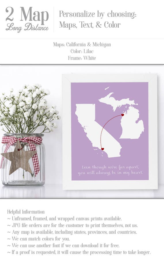 Personalized Gifts For Mom Birthday From Son Wall Art Gift Distance Long Map Print Home Moms