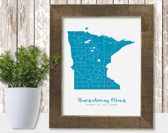 Map State Print Country County State Personalized Mothers Day Gift Ideas Personalized Mom from Daughter Mom from Son Mom Wall Art
