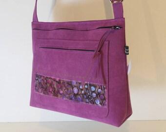 Shoulder bag in purple alcantara, cotton fabric Strip, model Sofia, unique, made in France
