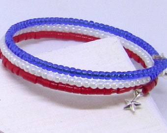Red, White, & Blue Bracelet And Earring Duo - Independence Day Gift, Fourth of July Jewelry, Veterans Jewelry Set, Memorial Day Jewelry
