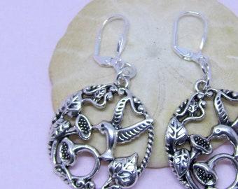 Silverplated Hummingbird Dangle Earrings, Birdlover Jewelry, Hummingbird Earrings, Nature Inspired Jewelry, Gifts for Gardeners, Unisex Gift