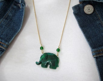 Father's Day Gift - Republican Party Themed Jewelry - Green Elephant Pendant Necklace - Political Pendant Necklace - Unisex Jewelry