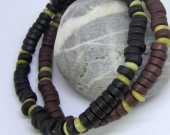 Gift For Father, Earthy Brown & Black Wood Bead Jewelry, Disability Stretch Bracelet, Larger Wrist Bracelet, Unisex Gift, Layering Bracelets