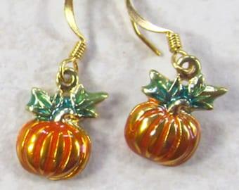 Contemporary Orange Pumpkin Metallic Earrings - Vibrant Autumn Harvest Gold Dangle Earrings - Boho Pumpkin Earrings - Pumpkin Themed Jewelry