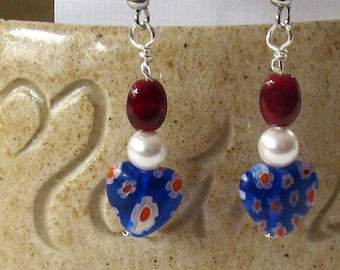 Red, White & Blue Bead Earrings - Patriotic Dangle Earrings - Veteran's Day Jewelry - Red,White, Blue Independence Day Jewelry - 4th of July