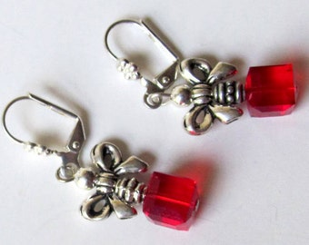Red Swarovski Cube & Silverplated Bow Christmas Jewelry - Christmas Package Earrings - Red Dangle Holiday Earrings - Christmas Gift Ideas