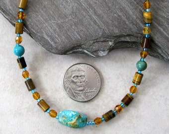 Gift For Father's Day - Turquoise And Tiger Eye Bead Necklace - Southwestern Inspired Beaded Jewelry - Blue & Brown Gemstone Jewelry