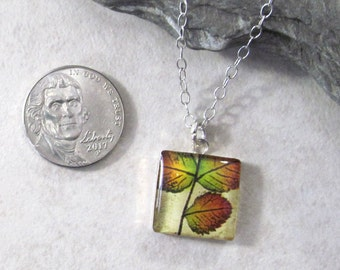 Dichroic Glass Leaf Pendant Necklace, Nature Inspired Leaf Pendant, Autumn Leaf Jewelry, Seasonal Fall Jewelry, Outdoor Lovers Jewelry Ideas