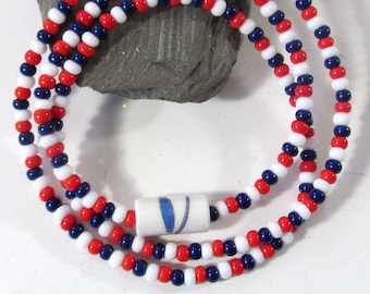 Veteran's Jewelry - Red White & Blue Seed Bead Bracelet or Necklace - Patriotic Themed Stretch Jewelry - Independence Day Festive Jewelry