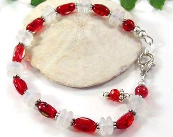 Winter Holidays Themed Jewelry, Red and White Glass Beaded Bracelet, Larger Wrist Bracelet,  Party Bracelet, Valentine Bracelet For Her,
