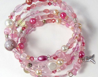 Mixed Pink & White Cancer Awareness Memory Wire Bracelet, Pink Multi-Wrap Bracelet, Awareness Support Jewelry, Disability Friendly Bracelet