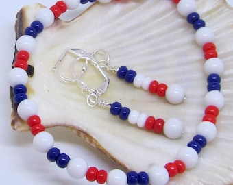 Veterans Jewelry Set, Patriotic Duo Jewelry, Red, White, & Blue Bracelet And Earring Set, Independence Day Gift, Fourth of July Jewelry,