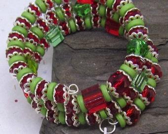 Red, Green & Silver Christmas Bracelet, Holiday Jewelry, Disability Christmas Jewelry, Festive December Bracelet, Lady's Religious Bracelet