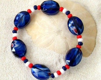 Patriotic Disability Stretch Bracelet - Red & White With Blue Glass Beads Bracelet - Veteran's Jewelry - American Themed Jewelry