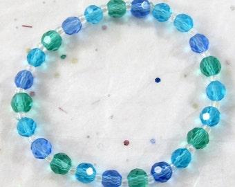 Blue & Green Glass Bead Beachy Bracelet, Water Reflections Jewelry, Seasonal Spring Disability Friendly Gift