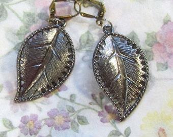 Long Antiqued Gold Leaf Dangle Earrings,  Goldplated Leaf Jewelry, Seasonal Leaf Dangle Earrings, Nature Inspired Jewelry - Unisex Earring