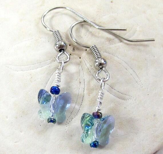 2ca1370f7 Swarovski Crystal Butterfly Earrings Butterfly Crystal Dangle | Etsy