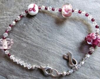 Lampwork Beads Cancer Awareness Bracelet - Silver Ribbon Awareness Jewelry - Larger Wrist Awareness Bracelet - October: Awareness Month