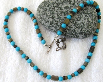 Men's Jewelry - Western Inspired Stone Bead Necklace - Shorter Turquoise & Brown Beaded Necklace - Stone and Turquoise Beaded Jewelry