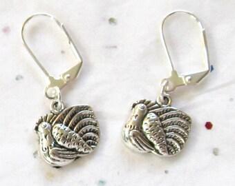 Turkey Silver Dangle Earrings, Nature Themed Jewelry, Thanksgiving Inspired Jewelry, Unisex Earrings, Autumn Jewelry, Seasonal Earrings