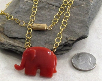 Republican Party Themed Pendant Necklace - Elephant Pendant Necklace - Political Pendant Necklace -Gift For Father- Unisex Jewelry