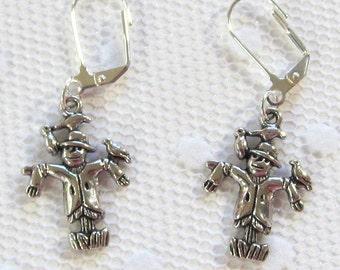 Scarecrow Dangle Earrings, Silver-Toned Scarecrow Jewelry, Halloween Dangle Earrings, Seasonally Inspired Jewelry, Unisex Earrings