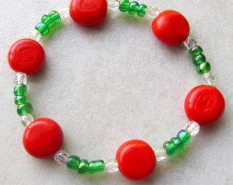 Contemporary Christmas Stretch Bracelet, Red & Green With Clear Bead Bracelet, Winter Holiday Jewelry - Adolescent Christmas Gift Idea