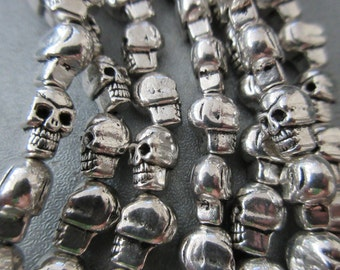 Silver Plated Skull Spacer 21pcs
