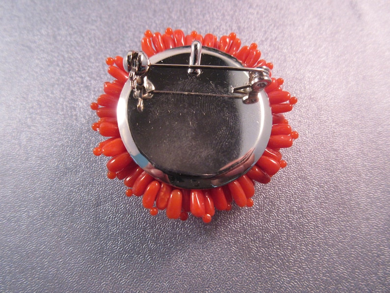 Red Coral Cluster Pin Brooch