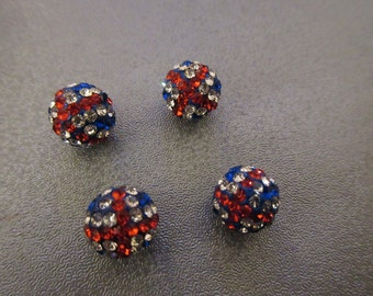 British Flag Rhinestone Spacer Beads 4pcs