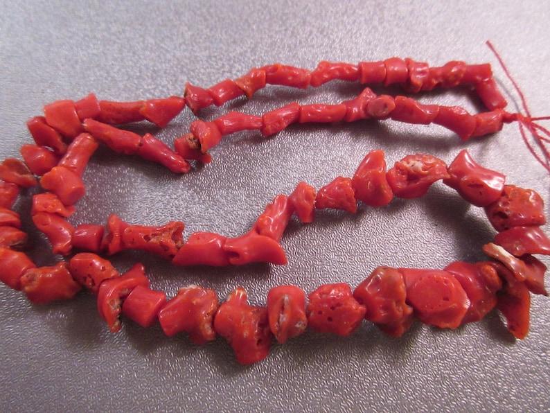Mediterranean Rough Red Coral Graduated Freeform Pebbles Beads 58pcs