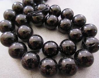 Black Tourmaline Round 12mm Beads 34pcs
