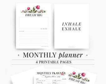 Monthly Goal Planner, Goal Planner, Goal Tracker, Printable, Weekly Goal Planner, Monthly Planner, Monthly planner 2017, Monthly planner kit