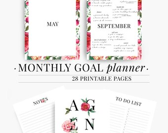 Monthly Goal Planner, Productivity planner, Monthly planner 2017, Goal Planner, Goal Tracker, Printable, Monthly Planner,Mind Map,Note Paper