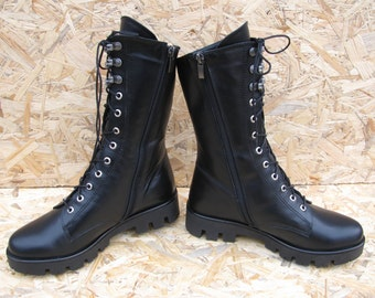 c02b47fdaad8 Lace up black leather combat boots with fur for women. Military winter shoes.  Autumn boots girl. Black women shoes. Snow boots natural fur.