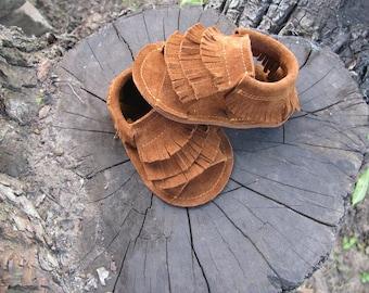 Brown baby sandals ,Fringe baby sandals,Soft sole,Baby sandals