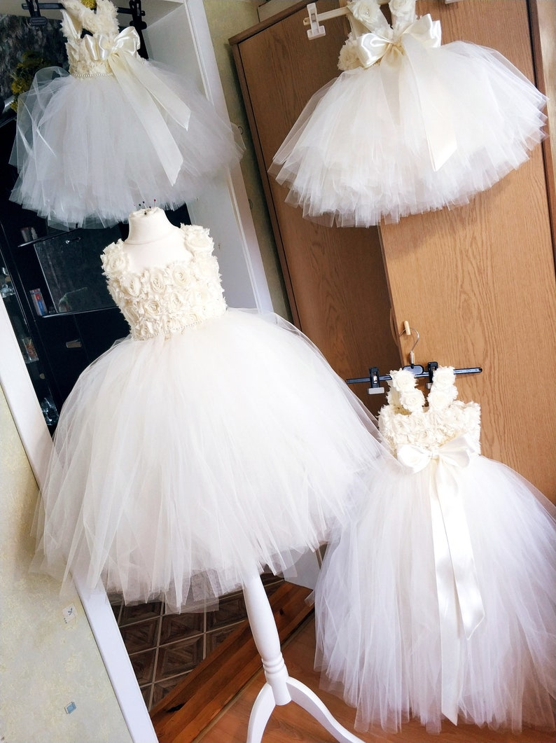 59071afb2 Ivory Flower Girl Dress Tulle Dress First Birhtday Outfit | Etsy