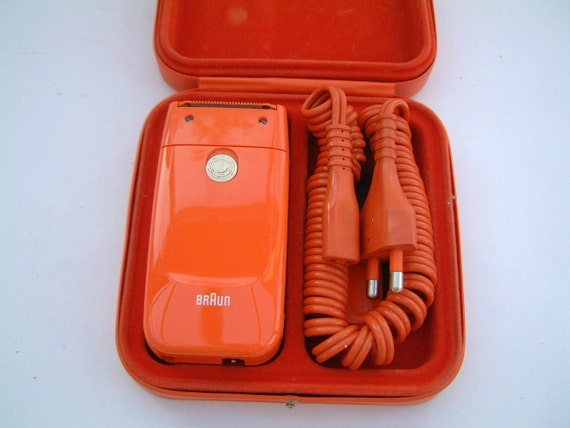Velvet Case Orange In Carrying Electric Own Original Rare With Vintage Braun LadyshaverComplete And Its 1971 Brush Lined 9IHW2EDY
