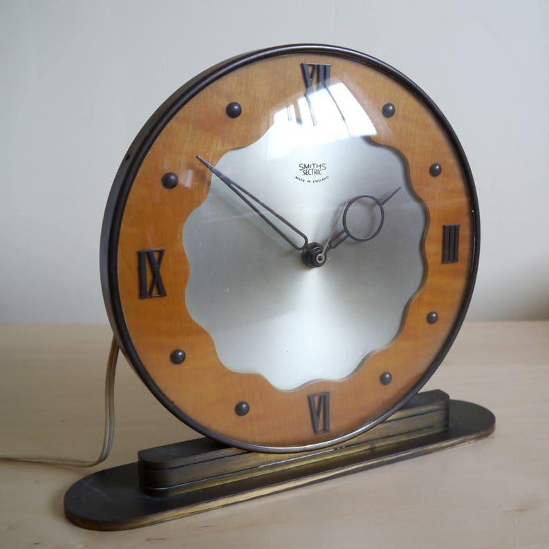 Magnifique Art Déco style Smiths Sectric horloge manteau, 1950