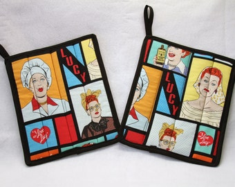 I Love Lucy Hot pads set of 2, pot holder, trivets